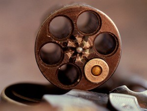 38 spl ammo in an open revolver chamber